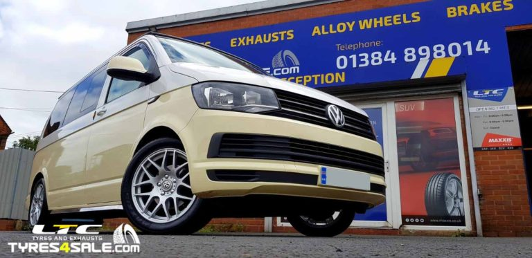 VW T6 fitted with DRC DRM 18″ Alloy Wheels and 40MM H&R Lowering kit