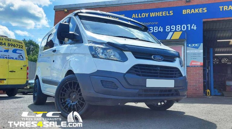 """18"""" JBW TMS Gloss Black Alloy Wheels for Ford Transit Van and Maxxis Tyres"""